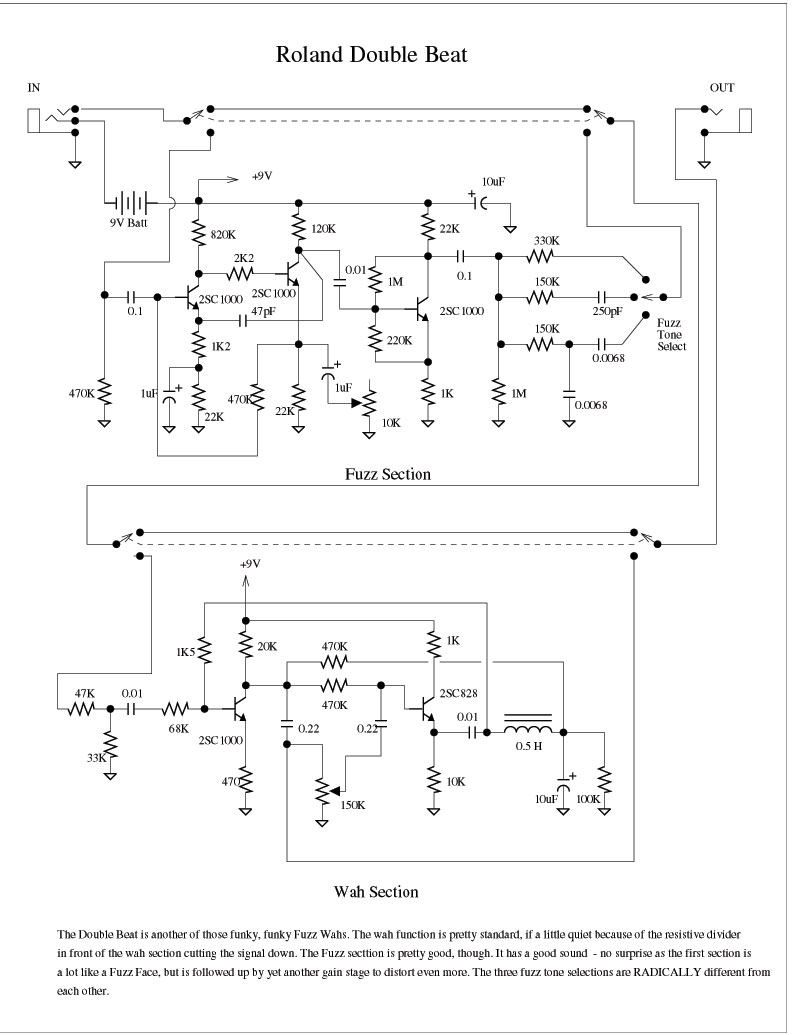 Vibrato Fuzz Pedal Schematic Roland Double Beat Wah